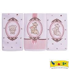 Kit 3 paninhos de boca camafeu rosa Colibri