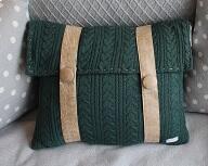 Almofada 40x30cm tricot c/couro FAU Hellen