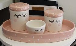 Kit porcelana 3pçs cílios c/tampa rose KP01