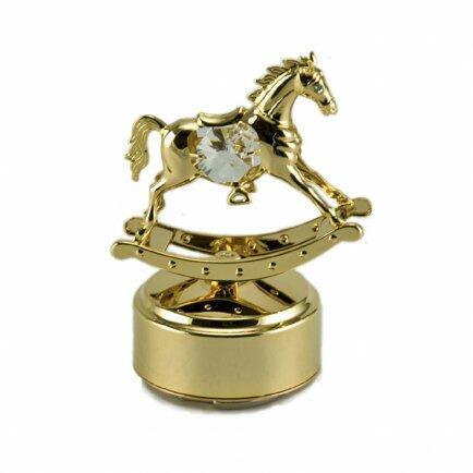 Caixa de música cavalo de balanço dourado Modali
