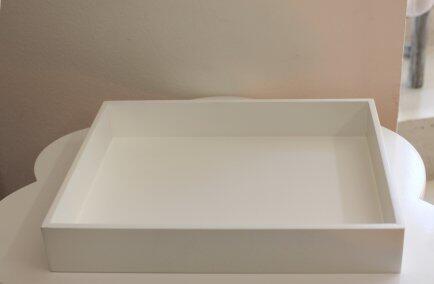 Caixa madeira 29 x 23 x 4,5cm -- Branco Detalhes