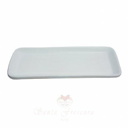 Bandeja cerâmica branca 38,5 x 15cm
