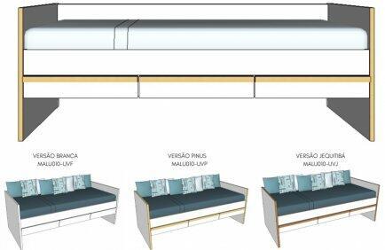 Cama sofá Linha Malu da Sleeper, com 3 gavetas