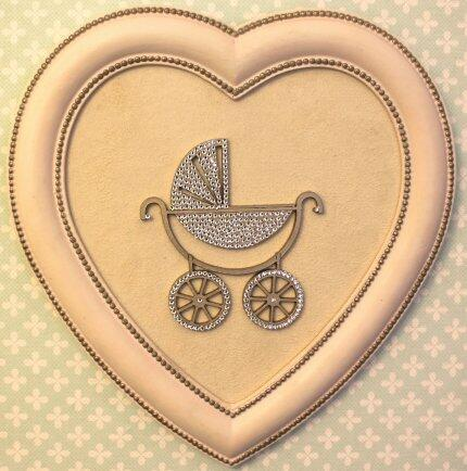 pe Quadro moldura coração rosa fendi carrinho