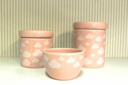 Conj. 2 potes + molhadeira Nuvem rosa - Detalhes