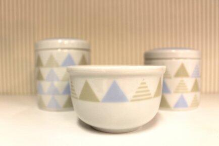 Conj. 2 potes +molhadeira Geométrico azul Detalhes