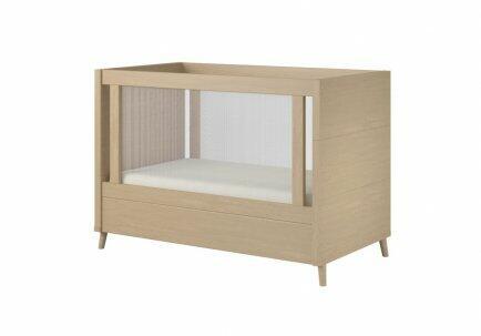 Berço Mini cama FIT lateral tela madeira maciça acabamento carvalho escovado