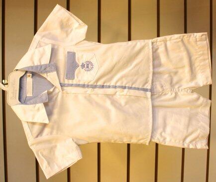 Conjunto batizado bermuda +camisa detalhe azul  M
