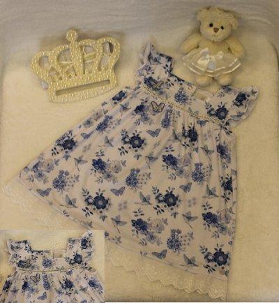 v19 Vestido floral azul T1 Anjos baby