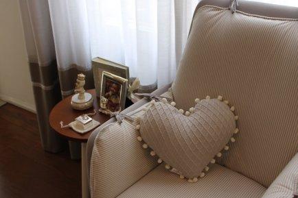Almofada coração tricot com grelo FAU