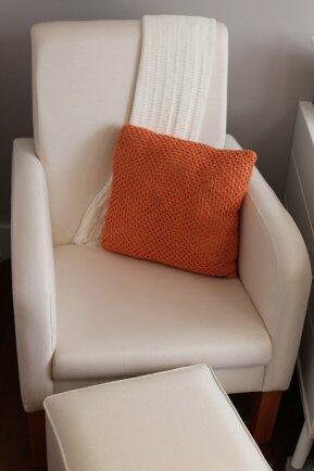 Almofada croche algodão abóbora - oficina da roça