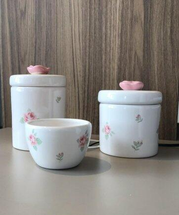 Kit porcelana 3pçs florzinhas rose KP01