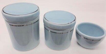 Kit porcelana 3pçs azul filete prata KP01
