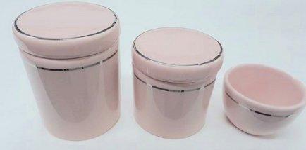 Kit porcelana 3pçs rosa filete prata KP01
