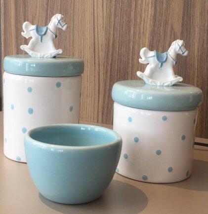 Kit porcelana 3pçs poá c/cavalinho azul KP01