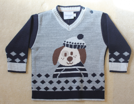 Sweater jacquard cachorrinho G noruega