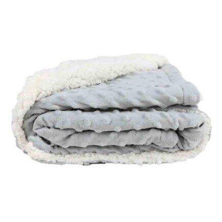 Cobertor Sherpam cinza dots 1,10 x0,90m Laço