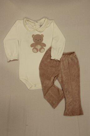 Conjunto body bord/calça plush rose G Anjos baby