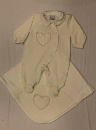 Macacão c/manta off com pérolas RN Anjos baby