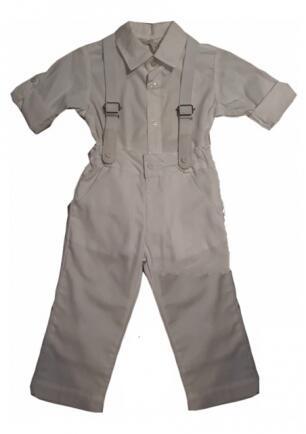 Conjunto camisa, calça suspensório P Barbara Kids